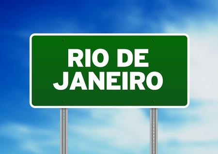 Green Rio de Janeiro highway sign on Cloud Background.