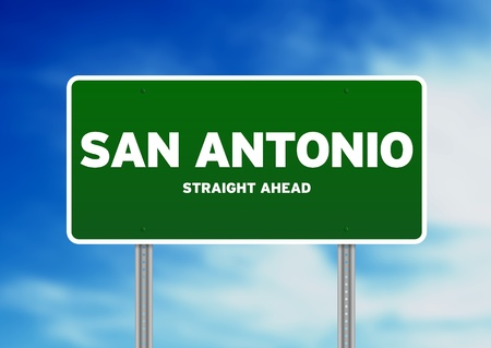 highway sign: Green San Antonio, Texas, USA highway sign on Cloud Background.