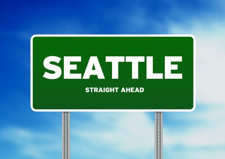 Green Seattle, Washington, USA highway sign on Cloud Background.  photo
