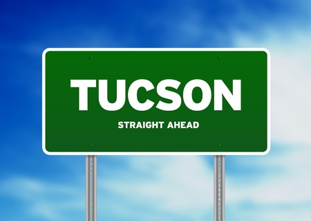 tucson: Green Tucson, Arizona, USA highway sign on Cloud Background.