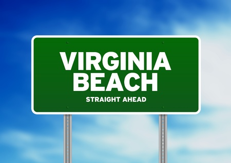 Green Virginia Beach, Virginia, USA highway sign on Cloud Background.