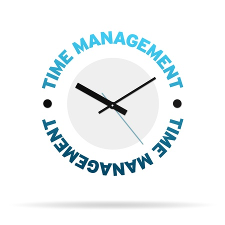time icon: Clock with the words time management on white background.