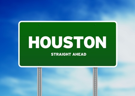 highway sign: Green Houston, Texas, USA highway sign on Cloud Background.  Stock Photo