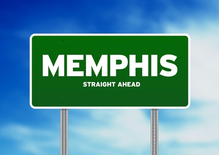 tennessee: Green Memphis, Tennessee, USA highway sign on Cloud Background.  Stock Photo
