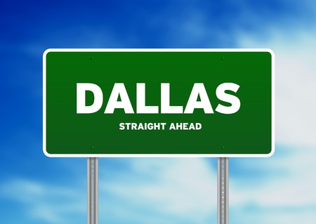 highway sign: Green Dallas, Texas, USA highway sign on Cloud Background.