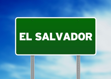 highway sign: Green El Salvador highway sign on Cloud Background.