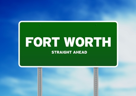 Green Fort Worth, Texas, USA highway sign on Cloud Background.  photo