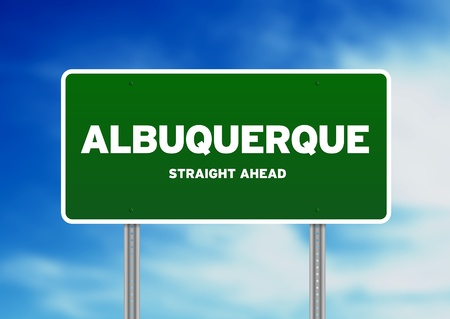 highway sign: Green Albuquerque, New Mexico, USA highway sign on Cloud Background.  Stock Photo