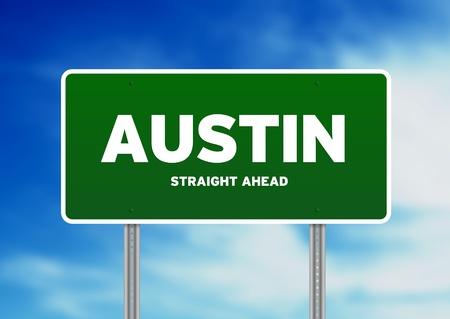 highway sign: Green Austin, Texas highway sign on Cloud Background.