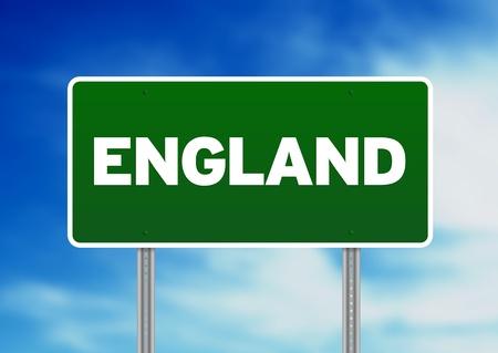 britan: Green England highway sign on Cloud Background.