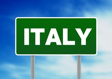Green Italy highway sign on Cloud Background.  Stock Photo - 9922606