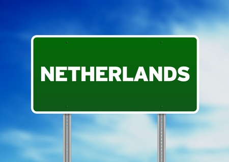 Green Netherlands highway sign on Cloud Background.  photo