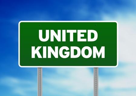 britan: Green United Kingdom highway sign on Cloud Background.  Stock Photo