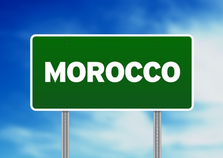 Green Morocco highway sign on Cloud Background.
