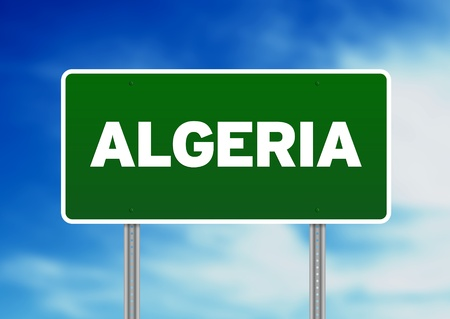 Green Algeria highway sign on Cloud Background.  Stock Photo - 9922644