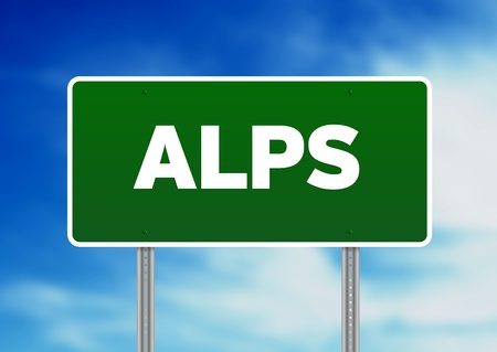 Green Alps highway sign on Cloud Background.