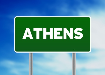 highway sign: Green Athens highway sign on Cloud Background.