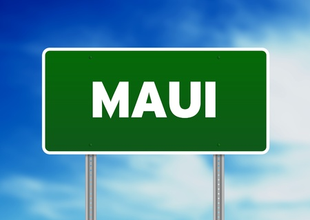 highway sign: Green Maui highway sign on Cloud Background.