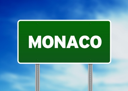 Green Monaco highway sign on Cloud Background.