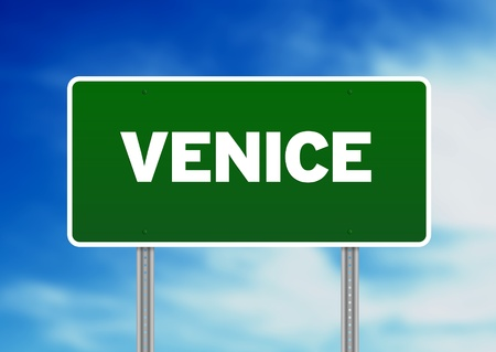 venice: Green Venice highway sign on Cloud Background.  Stock Photo