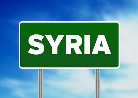 Groen de wegteken van Syrië op Wolkenachtergrond.