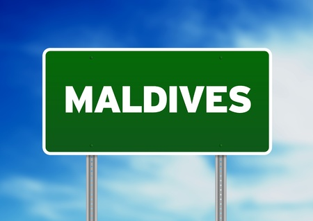 Green Maldives highway sign on Cloud Background.