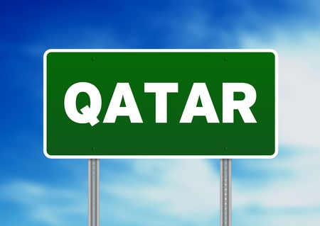 Green Qatar highway sign on Cloud Background.  Imagens