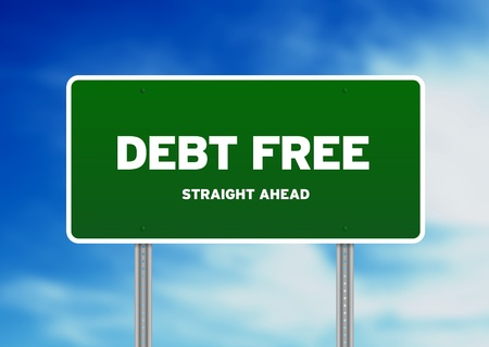 creditor: Green Debt Free highway sign on Cloud Background.  Stock Photo