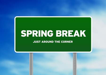 Green Spring Break highway sign on Cloud Background.