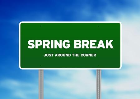 spring break: Green Spring Break highway sign on Cloud Background.