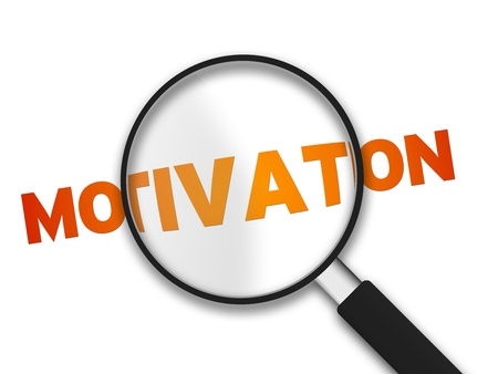 Magnifying Glass with the word Motivation on white background.