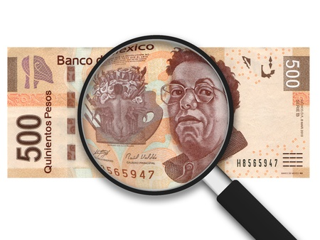 Magnifying Glass with 500 Pesos Note on white background Banco de Imagens - 9937307