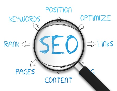 Magnifying Glass with the Search Engine Optimization drawing on white background