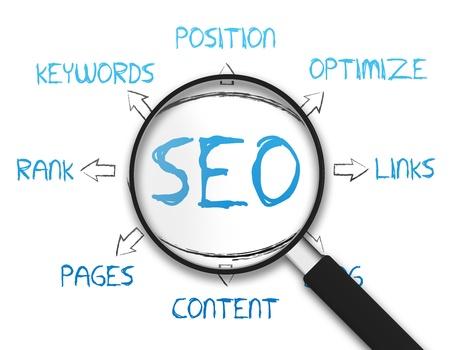 Vergrößerungsglas mit dem Search Engine Optimization Zeichnung auf weißem Hintergrund Standard-Bild
