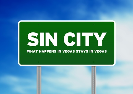 sin city: Green Sin City highway sign on Cloud Background.  Stock Photo