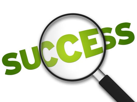 Magnifying Glass with the word Success on white background. Stock Photo - 9937301