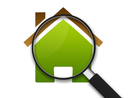 home inspection: Magnifying Glass zooming in on a clipart house .  Stock Photo