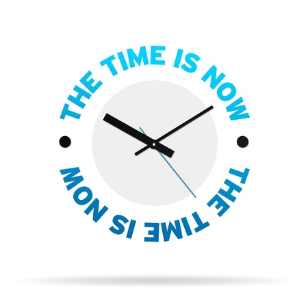 Clock Icon with the words the time is now on white background.