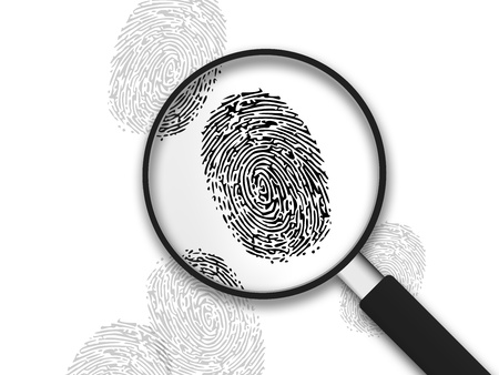 Magnifying Glass with finger prints on white background. photo