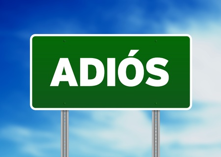 Green Adios highway sign on Cloud Background.