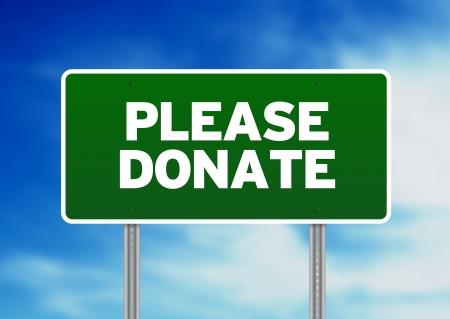 Green Please Donate highway sign on Cloud Background. Reklamní fotografie