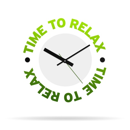 Clock with the words time to relax on white background. Banque d'images