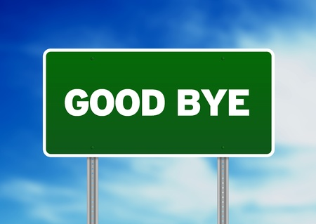 Green Good Bye highway sign on Cloud Background. Stock Photo - 9998891