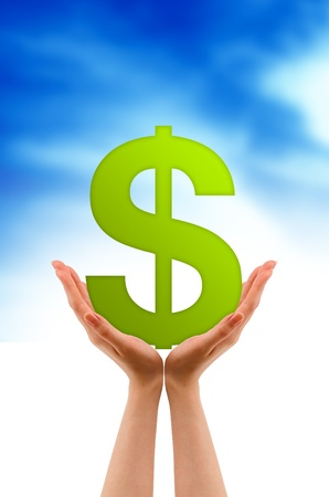 monies: Hands holding a dollar sign on cloud background.
