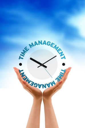 timing: High resolution graphic of hands with Time Management Clock. Stock Photo