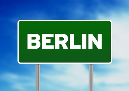 highway sign: Green Berlin highway sign on Cloud Background.