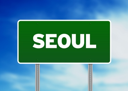 Green Seoul highway sign on Cloud Background.  photo