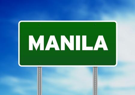 manila: Green Manila highway sign on Cloud Background.