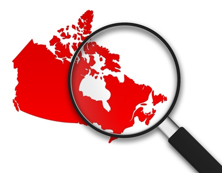 focus on: Magnifying Glass with a Canadian Map on white background. Stock Photo