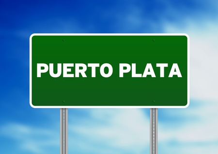 Green Puerto Plata, Dominican Republic highway sign on Cloud Background.  photo
